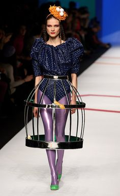 cage dress & bird nest hat  caged dressing done cute!