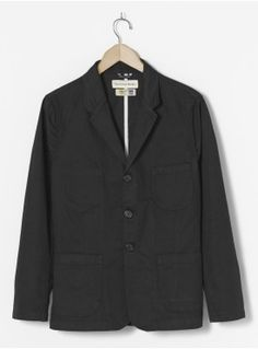 Universal Works Suit Jacket in Black Byron Twill