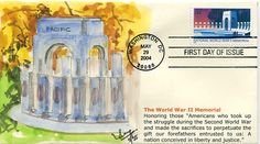 WWII First Day Covers | WWII MEMORIAL FIRST DAY COVER (2004)- First Day Cover issued honoring ... First Day Covers, One Day, World War I, Postage Stamps, Wwii, Two By Two, Memories, Memoirs, World War Ii