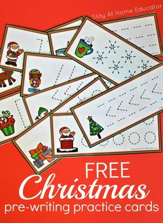 FREE Christmas themes prewriting cards - Stay At Home Educator