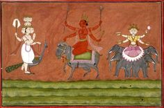 A planetary deity (Mars, or Mangala) flanked by Kārttikeya on his peacock, and Lakshmi seated on a lotus borne aloft by four elephants.       Attributed to: Mahesh.        Pahari School,     Chamba Style.  Date      1725-1750 (circa).      Painted in: Panjab Hills