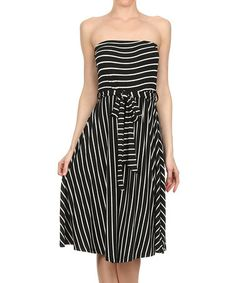 Loving this Black & Ivory Stripe Strapless Dress on #zulily! #zulilyfinds