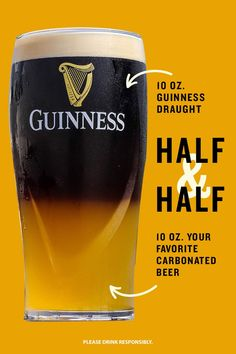 Take your summertime barbecue to the next level with a delicious Guinness Half & Half. Just fill your favorite pint glass halfway with a carbonated beer (like Guinness Baltimore Blonde), and using a pouring spoon or inverted teaspoon, pour the Guinness Draught over the top so it disperses evenly. This easy beer cocktail recipe is perfect for enjoying at home while watching the game or in the backyard while you're grilling. Cheers to that! Bar Drinks, Wine Drinks, Alcoholic Drinks, Cocktails, Bartender Drinks, Beer Cocktail Recipes, Alcohol Drink Recipes, Guinness Advert, Guinness Recipes