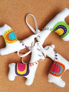 Llama christmas decorations sold by etsy Llama Christmas, Christmas Craft Fair, Unique Christmas Trees, Felt Christmas Ornaments, Christmas Nativity, Llama Stuffed Animal, Alpaca Toy, Alpacas, Felt Crafts Patterns