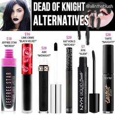 So #DeadofKnight is SOLD OUT! But I have 6 alternative black matte liquid lipsticks for you until Kylie's next restock. I also began including prices in my dupe photos after hearing your wonderful feedback :) More details will be on allintheblush.com tonight  #allintheblush #makeupslaves #trendmood #vegas_nay #makeup #beauty #hudabeauty #slave2beauty #insta_makeup #norvina #glamrezy #amrezy #makeupartist #motd #mua #makeupaddict #wakeupandmakeup #kyliejenner #kylielipkit #kyliecosmetics…