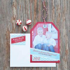 Holiday Photo Hangtag Printable Card - Aqua and Red Chevron - Signature Design