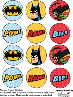 Cupcake Decoration, Batman, Favor Box - Free Printable Ideas from Family Shoppingbag.com
