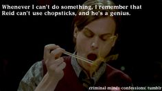 Criminal Minds Confessions- okay I can use chopsticks but this part of the episode is really funny Really Funny, The Funny, Dr Spencer Reid, Dr Reid, Behavioral Analysis Unit, Criminal Minds Quotes, Penelope Garcia, Derek Morgan, Harry Potter
