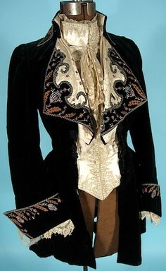 1884, Arnold Constable.  Black velvet embroidered fancy walking jacket.