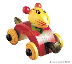 Exclusive Channapatna Toy Rabbit Car crafted from wood & painted with vibrant organic colors. Available in Green & red Colors.