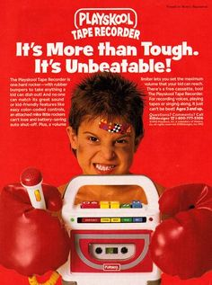 An advertisement from 1992 for the Playskool Tape Recorder, reflecting a time when cassettes were still king. 90s Toys, Retro Toys, Vintage Toys, 90s Childhood, Childhood Memories, Creepy Toys, Back In The 90s, 90s Nostalgia, The Good Old Days