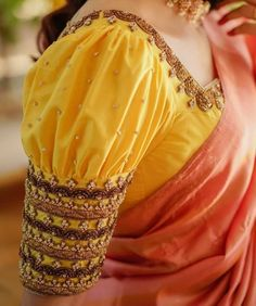 Wedding Saree Blouse Designs, Pattu Saree Blouse Designs, Half Saree Designs, Fancy Blouse Designs, Blouse Neck Designs, Sleeves Designs For Dresses, Stylish Blouse Design, Work Blouse, Cot