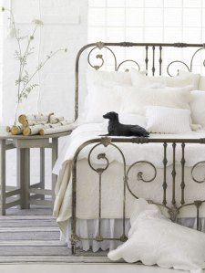 white-bedroom-decor-metal-bed-frame-gray-blue-rug-home-decorating-ideas