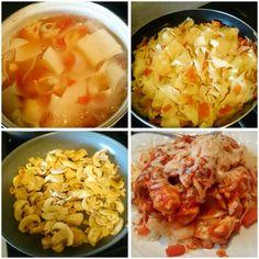 Pasta con pollo, pimientos rojos, champiñones y queso