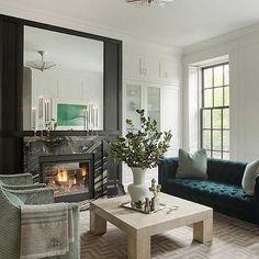 Peacock Blue Sofa, Contemporary, living room, Nina Farmer Interiors