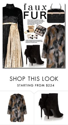 """Velvet Dress"" by beebeely-look ❤ liked on Polyvore featuring Yoek, Yves Saint Laurent, Dolce&Gabbana, NewYears, velvet, pleated, sammydress and fauxfurcoat"