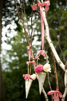 birch bark flower cones - I feel like this could be used elsewhere. Birch Wedding, Wedding Paper, Diy Wedding, Wedding Ceremony, Wedding Flowers, Dream Wedding, Wedding Ideas, Wedding Stuff, Woodsy Wedding