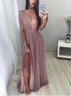 dusty purple sexy deep v-neck chiffon side slit long prom dress, PD9977 #fashion#promdress#eveningdress#promgowns#cocktaildress