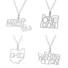 Wherever you are and wherever you go, you can now show your state pride with style in Kris Nations State Necklaces.