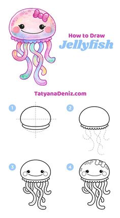 pencil drawing tutorials How to draw kawaii jellyfish (step-by-step tutorial) Zeichnungen iDeen Easy Drawing Tutorial, Easy Drawing Steps, Step By Step Drawing, Drawing Tutorials, Drawing Tips, Drawing Ideas, Easy Steps To Draw, Step By Step Sketches, Easy Doodles Drawings