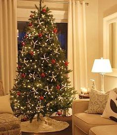 coastal decor christmas tree red and white