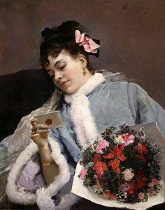 Raimundo de Madrazo y Garreta (Rome 1841 – 1920) Felicitación de cumpleaños  (The Love Letter)