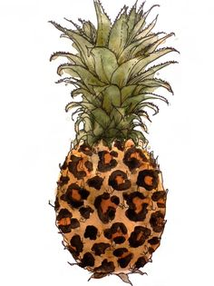 Watercolour Pineapple leopard print