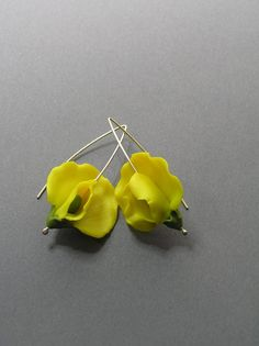 Yellow sweet peas yellow flower flower earrings handmade
