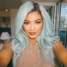 Kylie Jenner's powder blue hair. I love this look! She literally looks like a mermaid