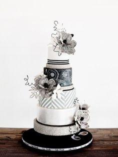 unique black and white wedding cake ~  we ❤ this! moncheribridals.com
