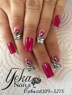 NagelDesign Elegant ( (notitle) ) - ALL - Manicure Nail Designs, Toe Nail Designs, Acrylic Nail Designs, Nail Manicure, Manicures, Fancy Nails, Red Nails, Butterfly Nail Designs, Pink Butterfly