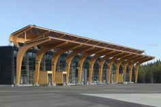 Passenger Terminal at the Jyväskylä Airport Birchply - A solid weatherproof plywood Bridge Structure, Steel Structure Buildings, Timber Buildings, Timber Structure, Timber Architecture, Concept Architecture, Amazing Architecture, Architecture Design, Marbella Club