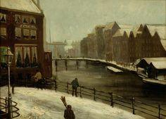 Oene Romkes de Jongh - Winters gezicht op de Amstel met rechts het huidige Europa Hotel