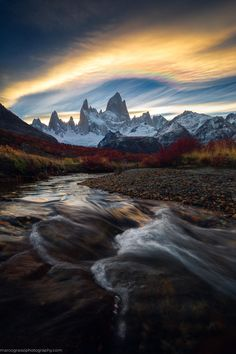 Mt Fitz Roy at Sunset, Patagonia. by Marco Grassi - Nature/Landscape Pictures Beautiful Landscape Photography, Landscape Photos, Landscape Art, Beautiful Landscapes, Landscape Paintings, Acrylic Paintings, Landscape Edging, Sunset Landscape, Mountain Landscape