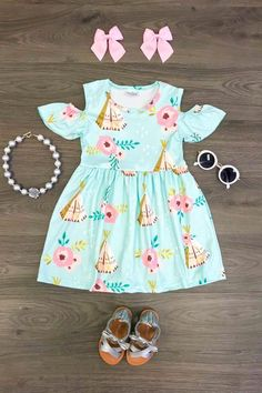 Our soft mint cold shoulder dresses are great quality and stunning! Baby Girl Party Dresses, Baby Girl Romper, Cute Baby Girl, Baby Dress, Little Girl Outfits, Kids Outfits Girls, Toddler Outfits, Unique Baby Clothes, Baby Kids Clothes
