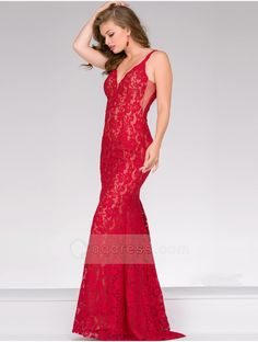 Sheath Floor-length V-neck and Open V Back Red Fitted Lace Prom Dress