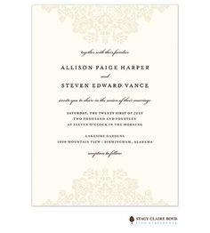 Wedding Bliss Invitation on White Eggshell (cream) | Taste Buds on the Avenue