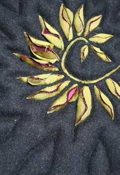 Wool and lining fabric reverse applique spiral design