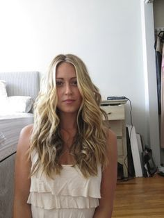 A Fashion Love Affair - Posts - Wavy Hair Tutorial with Hana FlatIron // This girl is genius, thank you. now I don't have to flat iron the roots of my curly hair and THEN curl it!