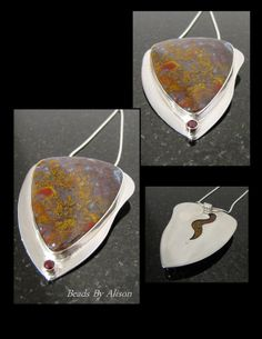 Bloody Basin Agate & Garnet sterling silver bezel ste pendant. Cabochon by Bob Wright, Silver by Beads By Alison. Gemstones, Cabochons & Enamels - The Pendant Collection - Beads By Alison