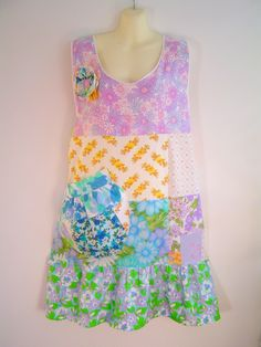 Patchwork apron tunic