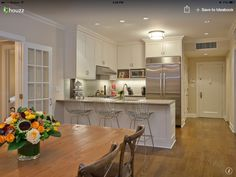 Condo kitchen: subway tiles plus legs on bar. Super-cute for a small ...