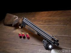 Seeing triple: The new Chiappa 12 gauge's pyramid of barrels makes for a menacing and effective home-defense shotgun. The Triple Threat is shown with the pistol-grip stock and an Insight light. Weapons Guns, Guns And Ammo, Home Defense Shotgun, Tactical Shotgun, Tactical Gear, Concept Weapons, Custom Guns, Cool Guns, Firearms