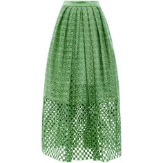 Tibi Sonoran Eyelet Skirt (1.610 RON) ❤ liked on Polyvore featuring skirts, pleated skirt, tibi, green skirt, tea length skirt and eyelet skirt