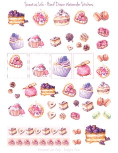 FREE 'hidden' fourth page from my Valentine 'Sweet as Life' planner sticker set. Hand drawn watercolor paintings of cakes, desserts, chocolates and macarons, united on one printable page to decorate your planners, diary, journal or gifts! :)  Check out me 'Freebie' section!