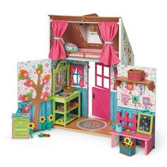 Wellie Wishers Playhouse Build A Playhouse, Wooden Playhouse, Indoor Playhouse, Ag Dolls, Girl Dolls, Barbie Dolls Diy, New American Girl Doll, American Girl Wellie Wishers, Wellie Wishers Dolls