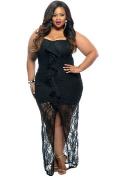 Black Ruffle Detail Strapless Curvy Lace Plus Size Dress LAVELIQ