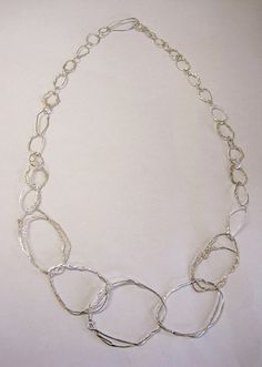 Wrapped and plaited silver wire chain