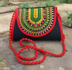 Handbags Beautiful Silk Kutchi Work Hand Bag  *Material* Silk 