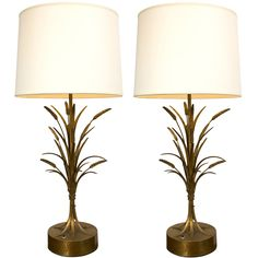 Pair of 1950s Gilt Wheat-Sheaf Table Lamps (via @1stdibs) #gold #lamps #1950s #italy
